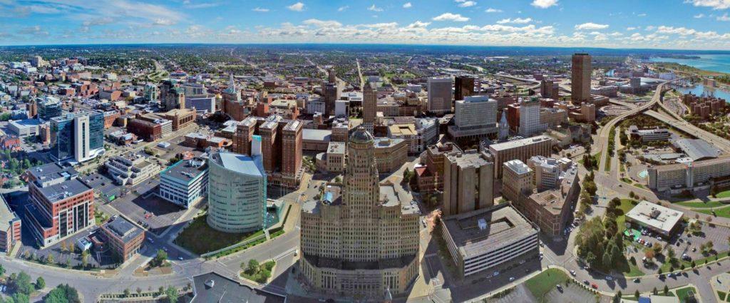The skyline of Buffalo, New York.